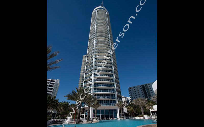Ocean Palms Hollywood Florida Luxury Condo Building Pool View